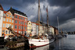 Boats moored in Nihavn Canal in Copenhagen, Denmark.