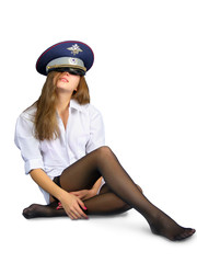 girl in police cap