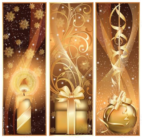 Set golden christmas banner. vector illustration