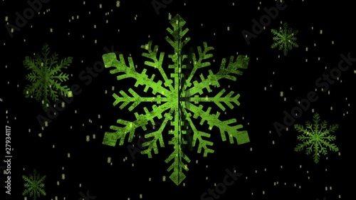 Green Spinning Snowflake