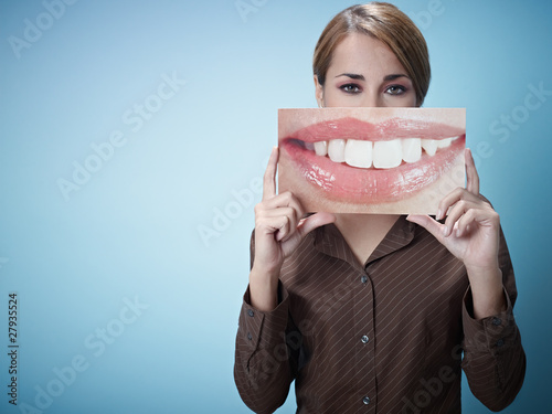 businesswoman with big mouth