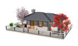 Casa con Albero Rosso-Home with Red Tree-3D