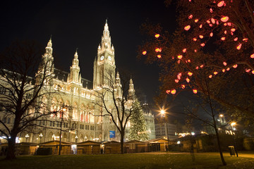 Vienna - tower of town-hall and christmas decoration