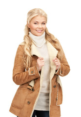 beautiful woman in sheepskin jacket