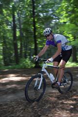 mountain biking in forest