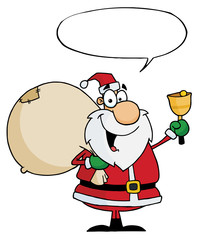 Santa Claus With Speech Bubble Waving A Bell