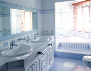 classic blue bathroom interior tiles decoration