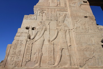 details of Kom Ombo Temple, unesco heritage in Luxor, Egypt
