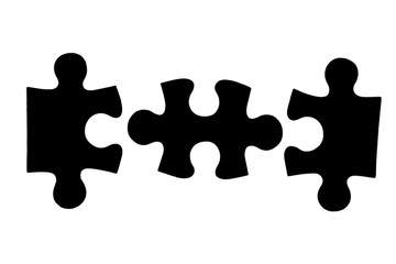three different black puzzle pieces