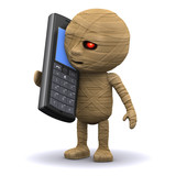 3d Mummy curses on his mobile phone