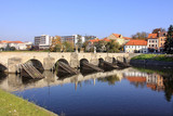 The oldest stone bridge in central Europe, Pisek, Czech Republic poster