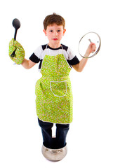 boy with cooking accessories, isolated