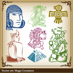 Vector set - American Indian national patterns background