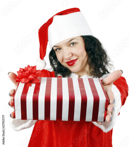 Young woman giving a gift