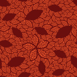 Seamless red leaves pattern on orange background