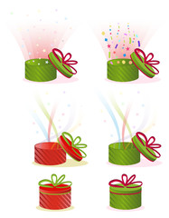 set of red and green gift boxes