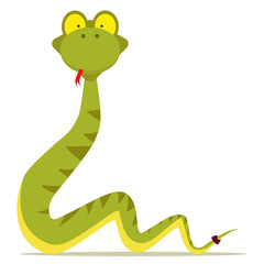 green snake cartoon with red tonge