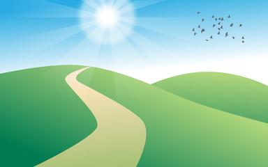 Paesaggio colline con sole