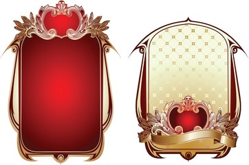 Two Red And Gold Glow Ornate Backgrounds.
