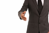 Unrecognizable businessman handshake closeup copy-space isolated poster