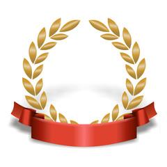Lorbeerkranz Gold mit rotem Band unten und Schatten