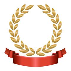 Lorbeerkranz Gold mit rotem Band unten