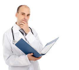 Portrait of confident doctor with a folder in hands