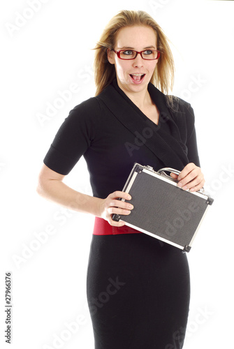 business woman with surprised expression