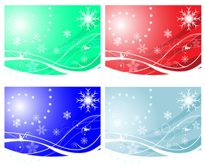 set of winter background
