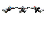 astronaut hero gang skydiveing freestyle white background poster
