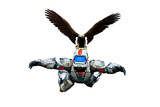 astronaut hero skydiver eagle rescue white background poster