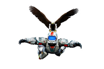 astronaut hero skydiver eagle rescue white background