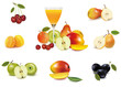 Fresh fruit and glass of juice. Vector illustration.