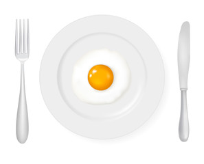 Close up view of the fried eggs. Vector illustration.