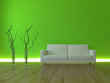 3D Sofa Rendering Neonschein grün