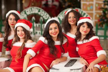 Five beautiful Santas