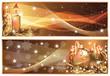 Golden Christmas horizontal banners. vector illustration