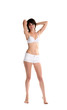 girl in bra and shorts semi-dressed