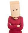 woman in ecological paper bag on head