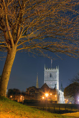Night scene of St Peter's Church, Bristol, UK