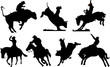 Seven rodeo silhouettes. Black and white Vector illustration