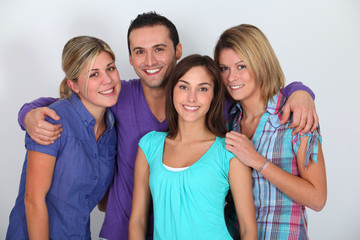 Portrait of group of friends on white background