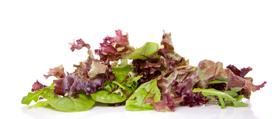 mixed green and red lettuce isolated over white