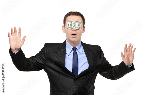 Confused blindfold businessman with a 100 dollar banknote