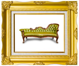 luxury green leather armchair in golden wood photo image frame