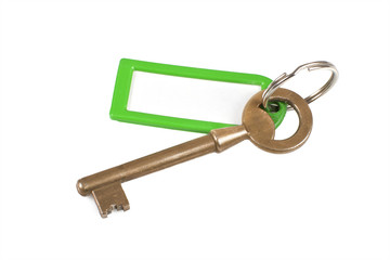 Gold key with empty label