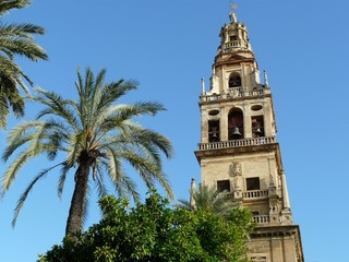 bell tower at the Mezquita mosque & cathedral in Cordoba, Spain