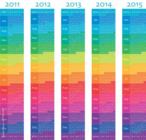 2011, 2012, 2013, 2014, 2015 vertical colorful calendars.