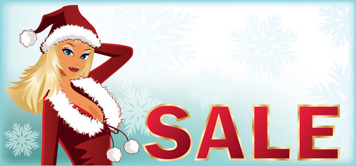 Christmas sale banner with Santa-girl. vector illustration