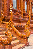 ancient naga statue in thai temple